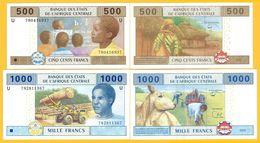 Central African States Set 500 & 1000 Francs Cameroon (U) 2002 UNC Banknotes - Central African States