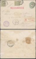 BELGIQUE EP 10c VERT + COB 47 X2 EN RECOMMANDE DE BRUXELLES VERS PORTUGAL (DD) DC-8000 - 1884-1891 Leopold II
