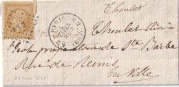 10 C. Dentelé Sur Lettre De Paris Du 25/3/63 Avec Losange KS2 Bâtons - Marcophilie (Lettres)