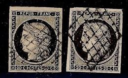 FRANCE YT 3 OBL TB Deux Ex  Signés Calves - 1849-1850 Ceres
