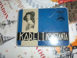 Old Tin Box Karel I Konstanta Wettig Gedeponeerd 10 Sigaren Amarillo Eindhoven - Contenitori Di Tabacco (vuoti)