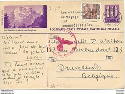 """221 - 82 - Entier Postal Avec Illustration """"Mürren-Bahn""""  Envoyé En Belgique 1941 - Censure - Entiers Postaux"""