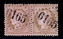 "FRANCE YT 54 PAIRE OBL 6165 Choisy-en-Brie... ETAT ""B""....gros Indice - 1871-1875 Cérès"