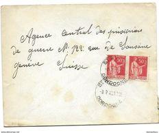 221 - 83 - Enveloppe Envoyée De Dordogne à La Croix Rouge Genève 1940 - Agence Prisonniers De Guerre - Marcophilie (Lettres)