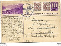 """221 - 84 - Entier Postal Avec Illustration """"Aeschi Bei Spiez""""  Envoyé En Belgique 1940 - Censure - Entiers Postaux"""