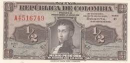 Colombia  #345a 1/2 Peso Oro, Prefix A 16.1.1948 Issue Banknote - Colombia