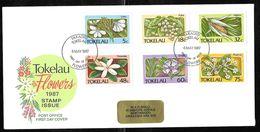 Tokelau - 1987 Flowers Set 6v Illustrated FDC - Fakaofo Pmk - Tokelau