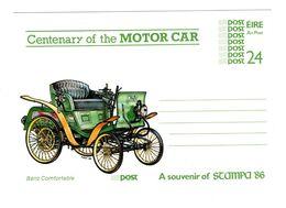 Irlande Eire Irland Irish Centenary Of The Motor Car Postal Stationery Entier Voiture Automobile - Interi Postali