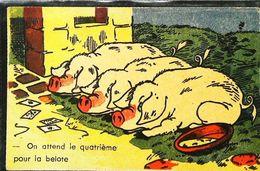Cpa Illustration  Cochon Pig On Attend Le Quatrieme Pour La Belote Cartes à Jouer - Cochons