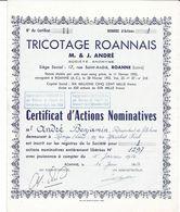 1954 - TRICOTAGE ROANNAIS - M. & J. ANDRE - Siège Social 17, Rue Saint-André, ROANNE - Textile