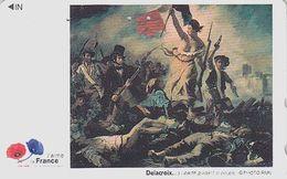 TC JAPON / 110-016 - PEINTURE FRANCE - DELACROIX - HISTOIRE REVOLUTION - LIBERTE Drapeau JAPAN PAINTING Phonecard - 1920 - Malerei