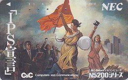 TC JAPON / 110-98798 - PEINTURE FRANCE - DELACROIX - HISTOIRE REVOLUTION LIBERTE Drapeau JAPAN PAINTING Phonecard  1921 - Painting