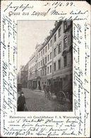 ! 1899 Alte Ansichtskarte Gruss Aus Leipzig,  Hainstrasse, Geschäftshaus F.A. Winterstein, Kutsche - Leipzig