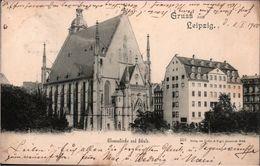 ! 1899 Alte Ansichtskarte Gruss Aus Leipzig Thomaskirche Und Schule - Leipzig