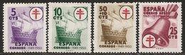 1949-ED. 1066 A 1069 - SERIE COMPLETA-POR TUBERCULOSOS. CRUZ DE LORENA-NUEVO CON FIJASELLOS-MH- - 1931-50 Nuovi