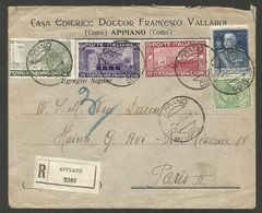 Appiano (Como) On Registered Letter 1926 With Mixed Franking, 5 Different Stamps, To Paris - Versichert