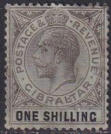 GIBRALTAR 1919 SG #81b 1sh On Blue-green,olive Back Used Wmk Mult. Crown CA CV £26 - Gibilterra
