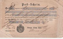"""Sachsen / 1859 / Postschein """"Koenigl. Saechs. Post"""", Hs. Ortsvermerk (BR18) - Saxony"""