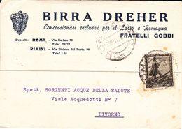 """ROMA / RIMINI - CARTOLINA PUBBLICITARIA """"FRATELLI GOBBI"""" CONCESSIONARI BIRRA WUHRER"""" PER LAZIO E ROMAGNA - 1938 - Roma (Rome)"""