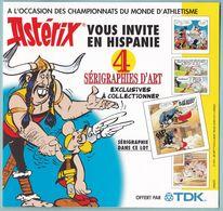Rare Sérigraphie Publicitaire TDK Astérix En Hispanie Championnats Du Monde Athlétisme Corrida Taureau - Sérigraphies & Lithographies
