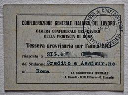 """TESSERA  """"CONFEDERAZIONE GENERALE ITALIANA DEL LAVORO"""" Anno. 1944. - Historical Documents"""