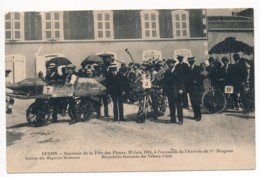 CPA 85 LUCON Souvenir De La Fête Des Fleurs 28 Juin 1914 Arrivée Du 1er Dragons Bicyclette Fantaisie Du Véloce Club - Lucon