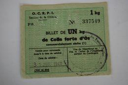 Rationnement - Billet Matiere Colle Forte D'os Chimie - Documents Historiques
