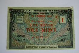 Rationnement - Billet Matiere 1 Tonne Tole Mince Superbe - Documents Historiques