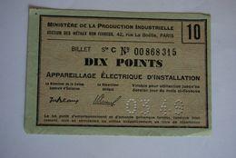Rationnement - Bon Matiere Ocrpi Appareillage Electrique D'installation Bourges Cher - Historical Documents