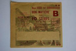 Rationnement - Bon Matiere Ocrpi Bois Rare Epreuve - Documents Historiques