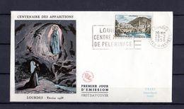 """"""" LOURDES """" Sur Enveloppe 1er Jour De 1957. Obl Lourdes Avec Flamme N° YT 1150 Parfait. état FDC - 1950-1959"""