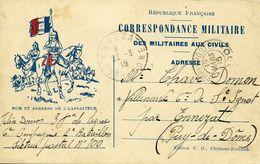 CARTE FRANCHISE MILITAIRE CAVALIER TESOR ET POSTES 100 Pour ENNEZAT MARS 1915 - Marcophilie (Lettres)