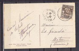 TRIPOLI YT 77 ON POST CARD FOR TUNISIA - Tripolitaine
