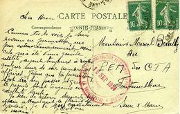 CENTRE D'INSTRUCTION AUTOMOBILE DE FONTAINEBLEAU 1924 Carte Postale D'AVON LA CITE DES CHEMINOTS - Postmark Collection (Covers)