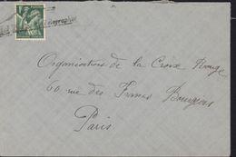 Guerre 39 45 Oblitération De Fortune Villejuif Télégraphe Dos Adresse Pour Paris YT 432 Iris - Guerre De 1939-45