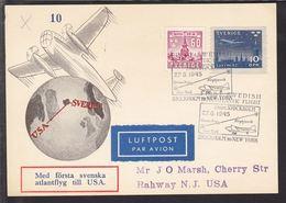 1945. SVERIGE. LUFTPOST FIRST SWEDISH TRANSATLANTIC FLIGHT STOCKHOLM TO NEW YORK. On ... () - JF109667 - Briefe U. Dokumente