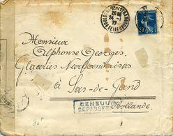 Lettre De Boulogne Sur Seine Pour Hollande Semeuse 25c Bleu CENSURE OUVERT PAR L'AUTORITE MILITAIRE 24 Et 23 DIEPPE - Marcophilie (Lettres)