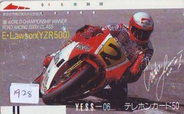 Télécarte Japon * 330-3776 * MOTO YAMAHA *  LAWSON * GP SAN MARINO (1928) Série YESS 06 * MOTORBIKE Japan Front Bar - Motos