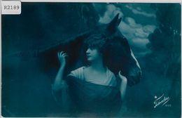 Junge Frau Mit Pferd Horse Cheval Femme Horse Lady - Blaue Karte - Frauen