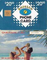 BAHAMAS ISL.(chip) - Beaching In Bahamas(BAH C7C), Medium Number In Box, Chip GEM1, Used - Bahamas
