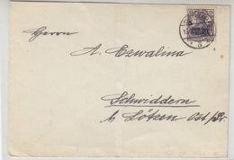 Brief Mit 106 Aus DANZIG 15.8.19 Nach Schwiddern .. Ostpreussen / Geprüft - Dantzig