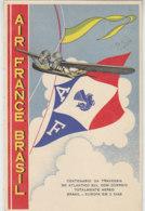 AIR FRANCE BRASIL Karte Aus SAO PAULO 25.12.36 Nach Paris 31.12.36 / Hübsche Karte Mit Wasserflugzeug - Poste Aérienne