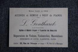 Carte De Visite - Musique, Luthier ,L.GONTHARET. - Cartoncini Da Visita