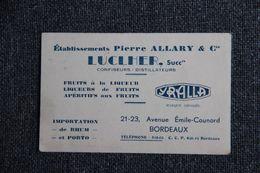 Carte De Visite - BORDEAUX,LUCLHER,  Confiseurs , Distillateurs - Visiting Cards