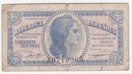 Spain P 93 - 50 Centimos 1937 - Fine - [ 5] Emissioni Ministero Delle Finanze