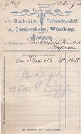 WURZBURG A GUNDERSHEIM TUCH UND BUCKSKIN VERSANDTGESCHAFT ANNEE 1902  A MR DERNBACH HAGUENAU - Allemagne