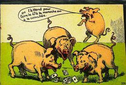 Cpa Cochon Partie De Cartes à Jouer   As  1940 - Cochons