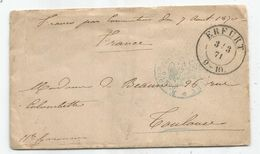 LETTRE ALLEMAGNE ERFURT 1871 + POUR TOULOUSE + MENTION FRANCO PAR CONVENTION 7 AOUT 1870 - Postmark Collection (Covers)