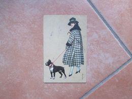 1917 Donnine Woman Illustratore COLOMBO Bastone Boxer Cappotto Quadri - Colombo, E.