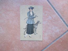 1917 Donnine Woman Illustratore COLOMBO Frustino Cane Levriero Viaggiata Affrancata - Colombo, E.